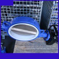 D371FP-10Q DN150手动涡轮对夹四氟球体蝶阀垂直板式 天津NBST厂家