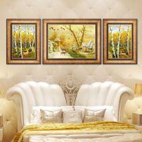 欧式客厅装饰画沙发背景墙挂画美式麋鹿风景墙画现代简约大气壁画