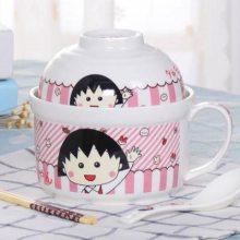 少女心饭盒可爱陶瓷带盖可加热保鲜碗碗便当盒