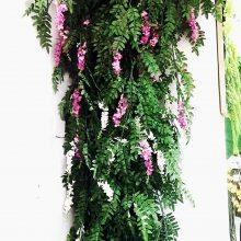 假叶子仿真树叶绿藤装饰绿叶子豆槐塑料绿藤蔓条绿叶吊顶壁挂植物森美景观