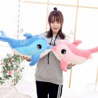 可爱七星海豚公仔 毛绒玩具 超柔毛绒抱枕玩偶 粉色 蓝色可选