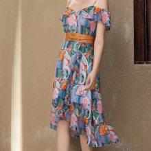 秋水伊人女装厂家直销,韩版中长款连衣裙杭州品牌折扣一手货源