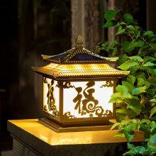 太阳能柱头灯围墙灯户外防水庭院灯花园别墅新农村家用路灯门柱灯