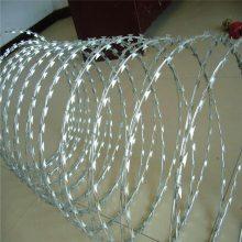 学校用刀片刺绳 防攀爬围墙钢丝圆圈 防攀爬刀片刺网