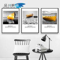 现代装饰画海景黄金工业船客桥厅沙发背景墙壁画餐厅艺术挂画三联
