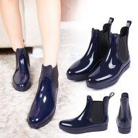 新款韩版春夏马丁靴 高帮厚底低跟时尚增高短靴女式纯色雨靴水鞋