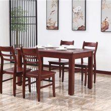 供应木言木语中式实木餐桌厂家 山东实木家具生产基地