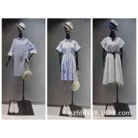 丝辉印月宝姿女装折扣批发折扣 外贸女装尾货批发市场银色雪纺衫