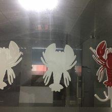 店铺玻璃门宣传信息超透贴纸磨砂贴UV彩白彩喷绘打印
