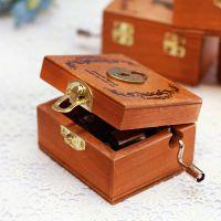 木质手摇迷你发条音乐盒礼品复古原木八音盒天空之城木制生日礼物