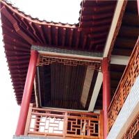 仿古木纹花格窗-铝合金木纹铝屏风隔断-型材铝护栏厂家批发
