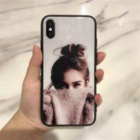 适用苹果iphoneX创意彩绘手机壳 女款简约玻璃彩绘全包手机壳