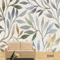简约手绘抽象水彩叶子无缝墙布大型定制壁画客厅沙发电视背景墙布