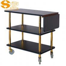专业生产SITTY斯迪95.8896-1Z拆装实木加钛金柱三层黑胡桃色服务车/酒水车/手推服务车