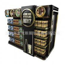 商超大型木质陈列柜 跨境出口香槟金铁质展示柜带灯商品陈列货架