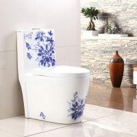 家用手绘蓝色新款彩金陶瓷马桶座便器地面安装