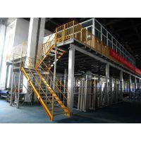两层1000kg/层固联钢平台重型货架,面积1000㎡立体仓库、车间货架