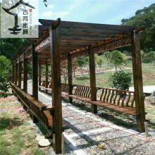 供应仿古实木廊架 校园文化木质长廊 景观设计走廊