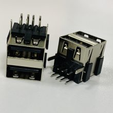 USB 双层90度插板反向母座 A母双层反向 14.3mm 双层AF 胶芯反向 直脚 黑胶铁壳 铜壳