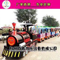 湖北宜昌广场观光游览无轨道小火车,亲子乘坐脸上洋溢着幸福模样