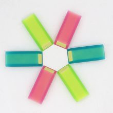 PVC材质透明双色夹心斜角橡皮学习办公文具可以来样来图加工定制