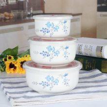 耐热陶瓷保鲜碗盒三件套装饭盒便当盒密封盒子微波炉专用带盖