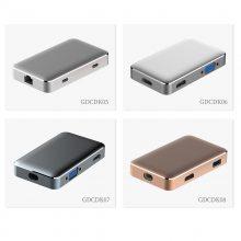 厂家供应 USB3.0DP多功能转接器 铝全金机身type-c 转hdmi/vga