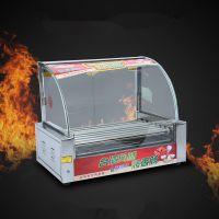7管烤肠机 热狗机 双控温不锈钢七管 烤香肠机 带照明 带门