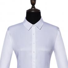 贵州女衬衣定制,短袖高端商务女衬衣订做批发,GY6077白色全棉成衣免烫平纹正规领女衬衣