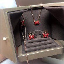 欧美大牌时尚中国风结缘项链S925纯银镀金滴油烧青正红女士锁骨链