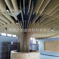 无锡越众办公总部装修 欧佰弧形铝方通 铝合金仿木方管 树枝造型
