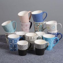 个性复古陶瓷杯子 釉下彩水杯 家用陶瓷杯 马克杯定制logo