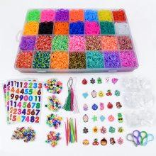 DIY手工编织手链彩虹橡皮筋28色一万根盒装rainbow Loom玩具套装