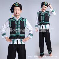 少数民族服装男壮族演出服长袖苗族布依族舞蹈服彝族土家族表演服