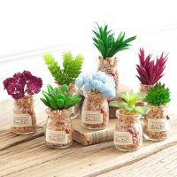 创意小盆栽植物假花多肉绿植家居房间客厅柜店面软装饰品摆件仿真