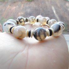 水晶玛瑙手链 天然石黑白花玛瑙外贸手链 14mm男女欧美地摊串珠