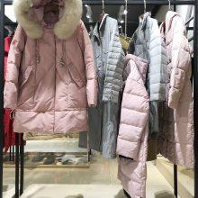 高端品牌羽绒服【灵音】大毛领加厚保暖防寒服 折扣女装货源批发