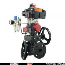 法兰碳钢气动球阀,气动手动一体式球阀,上海法登阀门