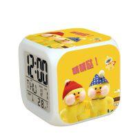 乐帆动漫网红小黄鸭七彩闹钟学生儿童创意电子闹钟 LED数字闹钟