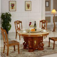 古典中式轻奢圆形简约大理石餐桌椅组合设计师创意餐桌