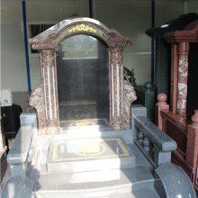 烟台市家族墓碑 红色墓碑订购 墓碑设计