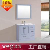 出口高档PVC白色浴室柜 佛山浴柜厂家定制挂墙式洗脸盆组合柜