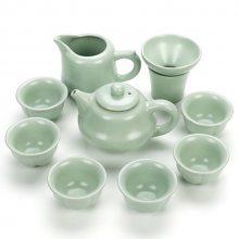 汝窑整套功夫茶具套装 家用开片陶瓷泡茶茶壶茶杯套装办公礼品