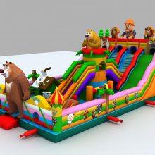 熊出没喷绘玩具城堡价位 7*12中等大小充气滑梯现货多多 大闹龙宫充气滑梯