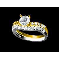 312L不锈钢镶嵌白水晶戒指定做  满天星金戒指—水晶首饰定做