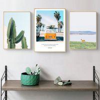 北欧组合沙发背景照片墙装饰画现代简约客厅三联风景挂画卧室壁画