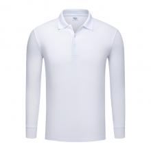 长袖广告衫定做,翻领长袖春秋季POLO衫批发订做,ZHIT-501001白色人造棉加厚珠地布240克