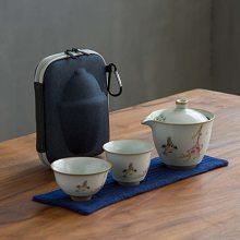 古汝窑旅行功夫茶具 景德镇便携包快客一壶两杯日式收纳包