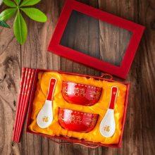 复古家用碗龙凤组合送礼定制 结婚陪嫁红碗 陶瓷喜庆礼物婚庆碗