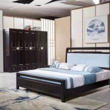 新中式床 新中式全实木床小户型橡木家具现代简约轻奢禅意1.8米双人床婚床 床 实木床 1.5米1.8